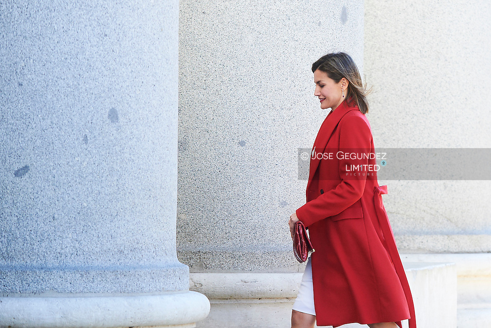 Queen Letizia of Spain attends a meeting of the Board of Patronage of the Prado Museum at Museo del Prado on February 16, 2016 in Madrid