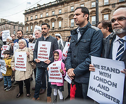 Muslims Stand Against Terrorism held a rally in George Square, Glasgow in condemnation of the terror attacks in Manchester and London. Speakers included Aamar Anwar and MSP's Anas Sarwar and Sandra White (pictured)<br /> &copy; Dave Johnston/ EEm