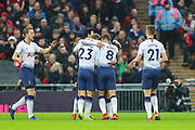 Goal scorer,Tottenham Hotspur midfielder Christian Eriksen (23) celebrates with teammates (1-0) during the Premier League match between Tottenham Hotspur and Bournemouth at Wembley Stadium, London, England on 26 December 2018.