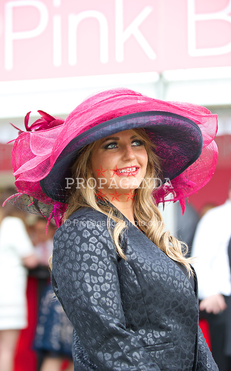 LIVERPOOL, ENGLAND - Friday, April 4, 2014: Sophie Munro of Preston during Ladies' Day on Day Two of the Aintree Grand National Festival at Aintree Racecourse. (Pic by David Rawcliffe/Propaganda)