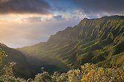A brief view of the iconic Kalalau Valley in Kauai.  Only seconds before this image was taken, the entire scene was covered in mist.  Fast moving clouds and strong winds soon transformed the scene.  Less than a minute later, it was gone again.