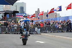 Mar 16, 2013; Harrison, NJ, USA; Red Bull street freestyle rider Aaron Colton performs before the game between the DC United and the New York Red Bulls at Red Bull Arena.