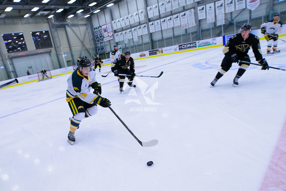 1st year forward Gary Marr (19) of the Regina Cougars in action during the Men's Hockey Home Opener on October 21 at Co-operators arena. Credit: Arthur Ward/Arthur Images