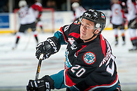 KELOWNA, CANADA - SEPTEMBER 28: Connor Bruggen-Cate #20 of Kelowna Rockets warms up against the Prince George Cougars on September 28, 2016 at Prospera Place in Kelowna, British Columbia, Canada.  (Photo by Marissa Baecker/Shoot the Breeze)  *** Local Caption *** Connor Bruggen-Cate;