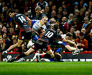 Gareth Davies of Scarlets scores his sides third try<br /> <br /> Photographer Simon King/Replay Images<br /> <br /> Guinness PRO14 Round 21 - Dragons v Scarlets - Saturday 27th April 2019 - Principality Stadium - Cardiff<br /> <br /> World Copyright © Replay Images . All rights reserved. info@replayimages.co.uk - http://replayimages.co.uk
