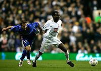 Photo: Tom Dulat.<br /> Tottenham Hotspur v Getafe. UEFA Cup. 25/10/2007.<br /> Nacho of Getafe and Younes Kaboul of Tottenham Hotspur fight for the ball.