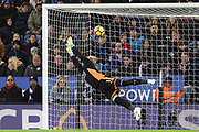 Leicester City goalkeeper Kasper Schmeichel (1) dives for the ball as Manchester City score to make it 0-2 during the Premier League match between Leicester City and Manchester City at the King Power Stadium, Leicester, England on 18 November 2017. Photo by Jon Hobley.