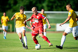 Luka Štor of Aluminij between Ante Vrljičak of Bravo and David Brekalo of Bravo during football match between NK Bravo and NK Aluminij in 5th Round of Prva liga Telekom Slovenije 2019/20, on August 9, 2019 in Sports park ZAK, Ljubljana, Slovenia. Photo by Vid Ponikvar / Sportida