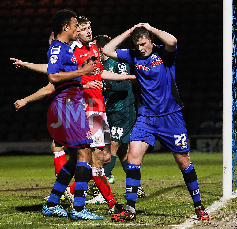 Rochdale's Jack O'Connell reacts after missing a chance  - Photo mandatory by-line: Matt McNulty/JMP - Mobile: 07966 386802 - 03/03/2015 - SPORT - football - Rochdale - Spotland Stadium - Rochdale v Crewe Alexandra - Sky Bet League One
