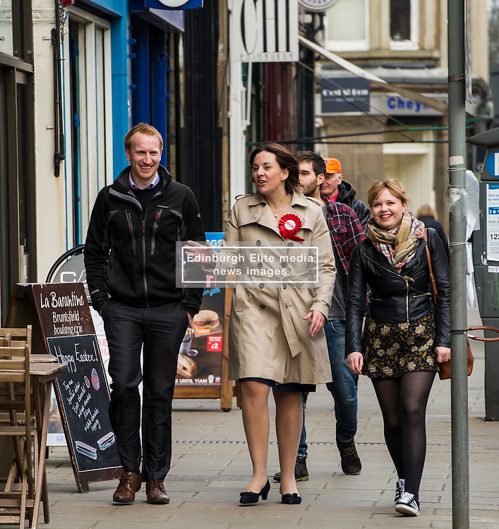 Pictured: Kezia Dugdale and Labour activists stride confidently into the election campaign<br /> <br /> Scottish Labour leader, Kezia Dugdale began her Party's Holyrood election campaign by joining supporters at a street stall in Morningside in Edinburgh today. She was joned by local candidate Daniel Johnston<br /> <br />  Ger Harley | EEm 23 March 2016