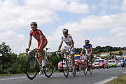 France - Tuesday, Jul 08 2008:  Florent Brard (COF) leads Lilian Jégou (FDJ) and Nicolas Vogondy (AGR) near Argenton les Vallées during Stage 5 of the 2008 Tour de France cycle race. The three French riders moved ahead of the main field after 11 km and still had an advantage of 20 seconds with 5 km to the finish. Columbia's Mark Cavendish won the stage in a sprint finish. The 232km Stage 5 from Cholet to Châteauroux was the longest in this year's race.  (Photo by Peter Horrell / http://www.peterhorrell.com)