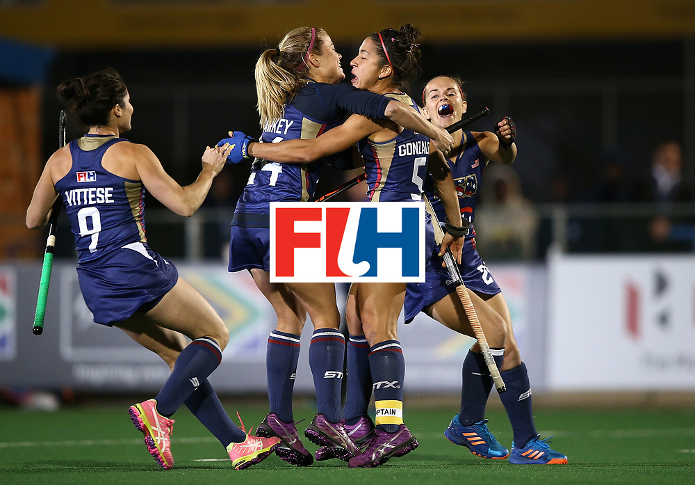 JOHANNESBURG, SOUTH AFRICA - JULY 20:  Melissa Gonzalez of United States of America celebrates with team mates after scoring the winning goal in the shoot out during day 7 of the FIH Hockey World League Women's Semi Finals semi final match between England and United Staes of America at Wits University on July 20, 2017 in Johannesburg, South Africa.  (Photo by Jan Kruger/Getty Images for FIH)