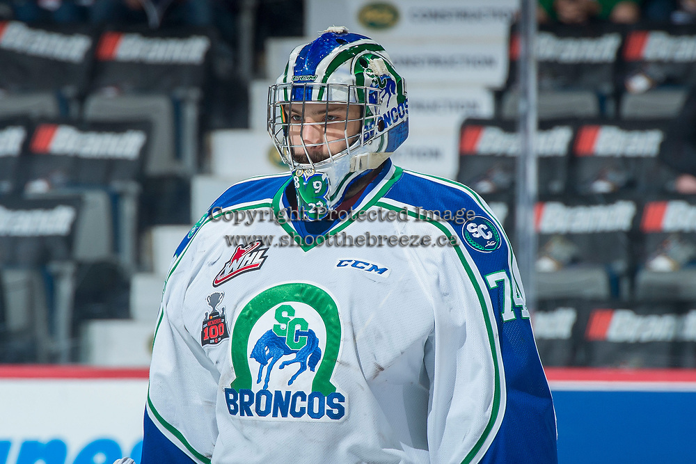 REGINA, SK - MAY 19: Stuart Skinner #74 of Swift Current Broncos stands on the ice against the Acadie-Bathurst Titan at the Brandt Centre on May 19, 2018 in Regina, Canada. (Photo by Marissa Baecker/CHL Images)