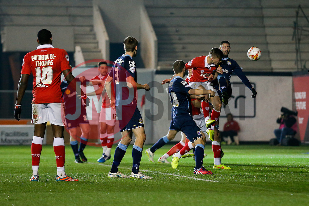 Joe Bryan of Bristol City heads a shot - Photo mandatory by-line: Rogan Thomson/JMP - 07966 386802 - 17/03/2015 - SPORT - FOOTBALL - Bristol, England - Ashton Gate Stadium - Bristol City v Crewe Alexandra - Sky Bet League 1.
