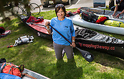 Pauline Frost will paddle the boat Mapping the Way in the River Quest. She posed for a photo on June 28, 2016. Frost says that she stopped counting after her eighth River Quest. She has raced under the 'mapping the way' banner before, but this is her first time really bringing the awareness of traditional Native lands to the River Quest.