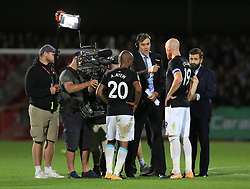 Sky Sports conduct an interview with Andre Ayew and James Collins of West Ham United - Mandatory by-line: Paul Roberts/JMP - 23/08/2017 - FOOTBALL - LCI Rail Stadium - Cheltenham, England - Cheltenham Town v West Ham United - Carabao Cup