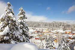 """Downtown Truckee 30"" - Photograph of a snowy historic Downtown Truckee, shot in the afternoon, after a big snow storm."