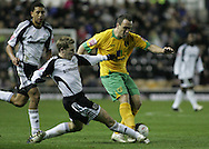 Derby - Tuesday October 28th, 2008: Martin Albrechtsen of Derby County and Lee Croft of Norwich City in action during the Coca Cola Championship match at Pride Park, Derby. (Pic by Michael Sedgwick/Focus Images)