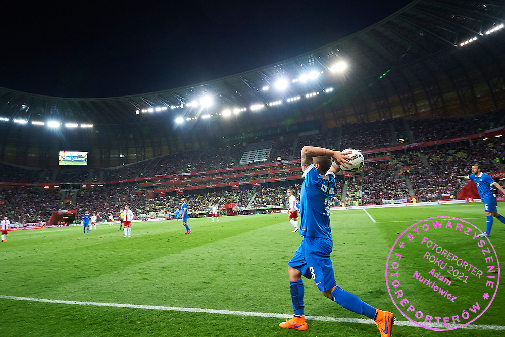 Kostas Stafylidis from Greece in action during international friendly soccer match between Poland and Greece at PGE Arena Stadium on June 16, 2015 in Gdansk, Poland.<br /> Poland, Gdansk, June 16, 2015<br /> <br /> Picture also available in RAW (NEF) or TIFF format on special request.<br /> <br /> For editorial use only. Any commercial or promotional use requires permission.<br /> <br /> Adam Nurkiewicz declares that he has no rights to the image of people at the photographs of his authorship.<br /> <br /> Mandatory credit:<br /> Photo by &copy; Adam Nurkiewicz / Mediasport