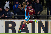 Goal Scunthorpe United defender Charlie Goode celebrates as he score equalizer to make it 3-3 during the EFL Sky Bet League 1 match between Scunthorpe United and Oxford United at Glanford Park, Scunthorpe, England on 3 November 2018.