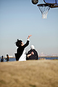 public park with people playing sports Japan Yokosuka