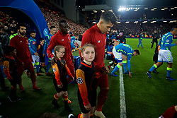 LIVERPOOL, ENGLAND - Tuesday, December 11, 2018: Liverpool's Roberto Firmino walks out before the UEFA Champions League Group C match between Liverpool FC and SSC Napoli at Anfield. (Pic by David Rawcliffe/Propaganda)