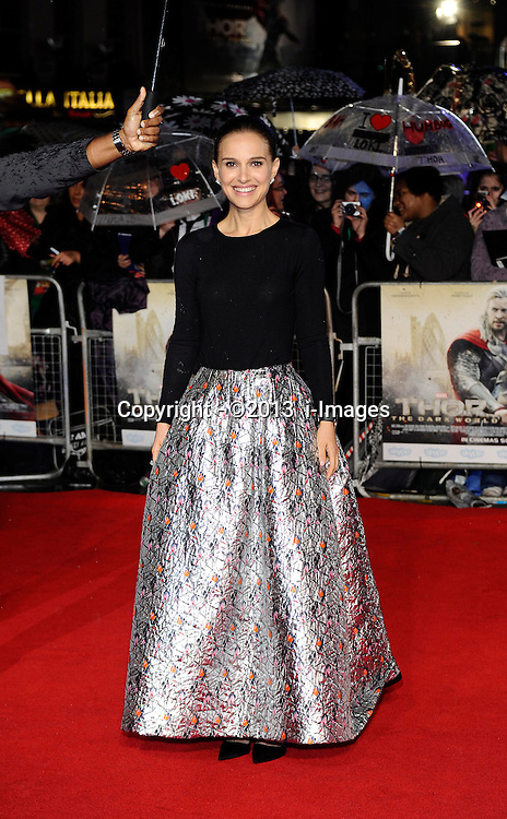 Natalie Portman arriving for the premiere of Thor: The Dark World, in London, Tuesday, 22nd October 2013. Picture by i-Images