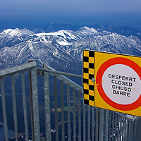 Verboten! On top of the Zugspitze, a trail that leads to the summit.