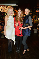 Left to right, MARISSA MONTGOMERY, DANIELLE COPPERMAN and SARAH ANN MACKLIN at the Launch Of Osman Yousefzada's 'The Collective' 4th edition with special guest collaborator Poppy Delevingne held in the Rumpus Room at The Mondrian Hotel, 19 Upper Ground, London SE1 on 24th November 2014, sponsored by Storm models and Beluga vodka.