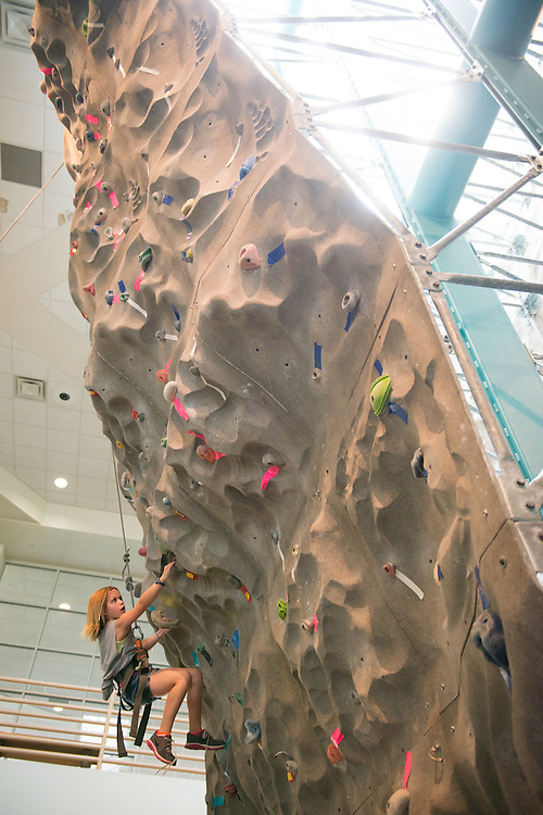 Arden climbs at the Campus Rec Day Camp at the Ping Center. Photo by Ben Siegel/ Ohio University