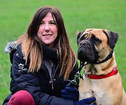 Crufts 2013 launch of annual dog show. The Kennel Club announces the official finalists of the Crufts dog heroes competition, Friends for Life, recognising pooches that help in war zones and assist the disabled. Green Park, The Kennel Club, London, United Kingdom..-Tracey Marshal and Daisy.  Tracey tragically lost her 6 year old son Jack to a brain tumour.  Just months before her family dog, Louis, died of a tumour as well. Daisy helped to fill an immense void in the family's life and brought laughter back into their family home, through their continued struggle with grief, London, United Kingdom, February 21, 2013. Photo by Nils Jorgensen / i-Images.