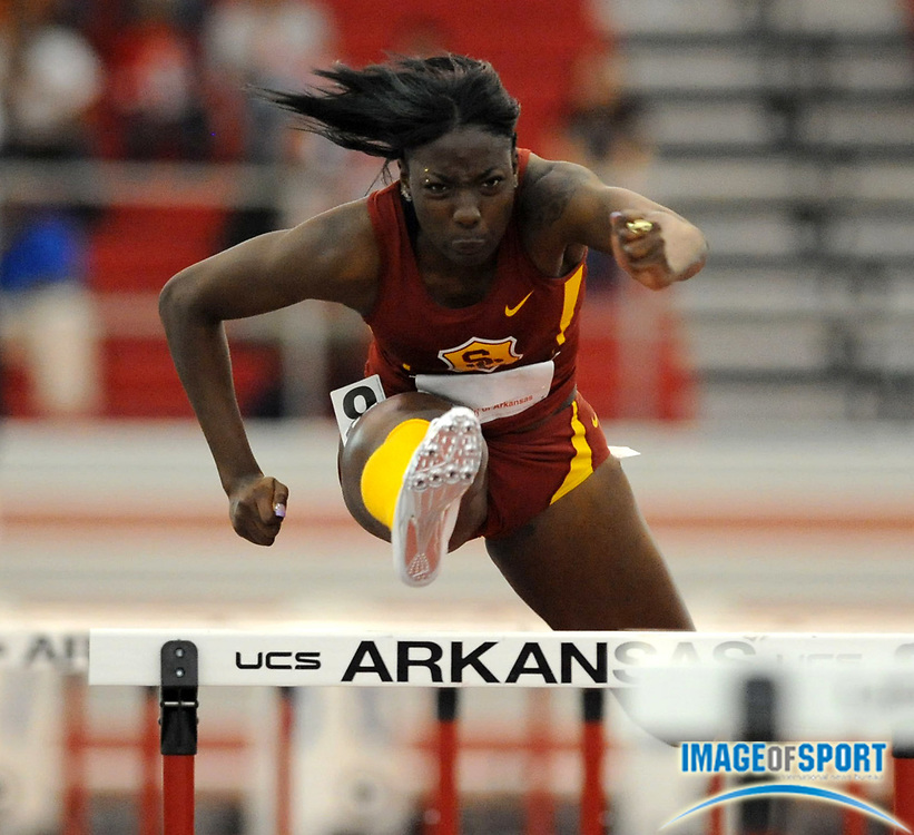 Mar 14, 2008; Fayetteville, AR, USA; Nia Ali of Southern California was fourth in women's 60m hurdles heat in 8.21 in the NCAA indoor track and field championships at the Randal Tyson Center.