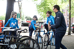 Movistar Women's Team riders prepare for the Fleche Wallonne Femme - a 118.5 km road race, starting and finishing in Huy on April 24, 2019, in Liege, Belgium. (Photo by Balint Hamvas/Velofocus.com)