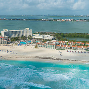 Aerial view of the Grand Park Royal Cancun Caribe hotel. Cancun, Mexico.