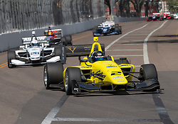 March 9, 2019 - St. Petersburg, FL, U.S. - ST. PETERSBURG, FL - MARCH 09: Toby Sowery (2)  during the start of the Indy Lights Race aof St. Petersburg on March 9 in St. Petersburg, FL. (Photo by Andrew Bershaw/Icon Sportswire) (Credit Image: © Andrew Bershaw/Icon SMI via ZUMA Press)