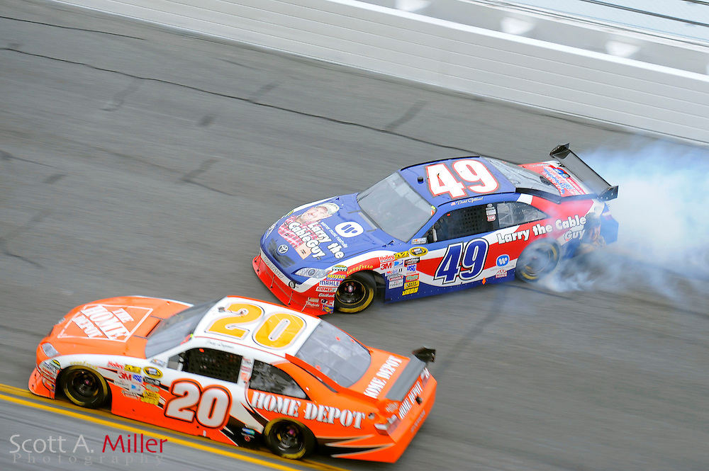 Feb. 11, 2010; Daytona Beach, FL, USA; NASCAR Sprint Cup Series driver David Gilliland (49) spins in turn 4 during race two of the Gatorade Duel at Daytona International Speedway. ©2010 Scott A. Miller