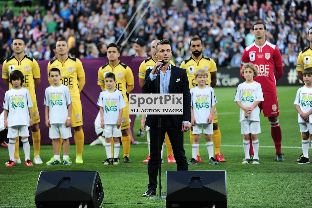 Anthony Callea performs the Australian Anthem prior to the Westfield FFA Cup Final, 7th November 2015, Melbourne Victory FC v Perth Glory FC - © Mark Avellino | SportPix.org.uk