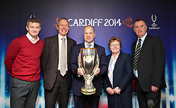 +++ FREE USE FOR STORIES PROMOTING THE UEFA SUPER CUP 2014 ONLY +++<br /> <br /> CARDIFF, WALES - Monday, February 17, 2014: [L-R]<br /> John Griffiths Minister for Culture and Sport, Heather Joyce Leader of Cardiff Council and former Wales captain Kevin Ratcliffe launch the UEFA Super Cup 2014 which will be played at the Cardiff City Stadium on 12th August. (Pic by David Rawcliffe/Propaganda)