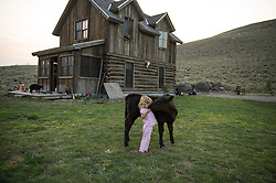 """Elle Anderson, 2,  plays with a calf outside her family's home on the J Bar L ranch. The J Bar L ranch is a unique, conservation-friendly ranch nestled into the wide open land of the Centennial Valley in southern Montana. The ranch finishes their cattle on grass, in contrast to the vast majority of ranches in the U.S. that send cattle to feedlots. The 2,000 head at J Bar L """"never go into a feedlot,"""" said Bryan Ulring, manager of the ranch. He added that J Bar L is one of the biggest grass finishers in the state. The Centennial Valley is an important wildlife corridor for elk, moose, antelope, deer, wolverines, grizzly bears, wolves and hundreds of bird species. The valley is largely owned by a handful of large ranches, which means their use of the land impacts the local environment. © Ami Vitale"""