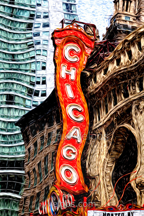 Chicago Theater sign digital painting. The Chicago Theatre is a popular venue for concerts and stage performances and is a landmark listed with the National Register of Historic Places. This digital art was created from a high resolution photograph.