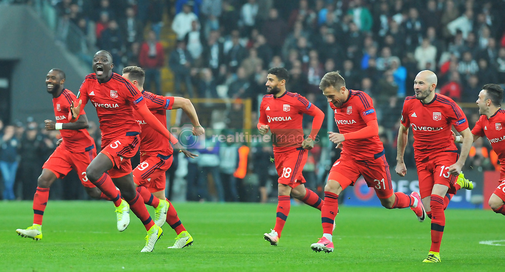 April 21, 2017 - Istanbul, Turkey - Olympique Lyon's players celebrate their victory at the end of the UEFA Europa League second leg quarter final football match between Besiktas and Olympique Lyon (OL) on April 20, 2017, at the Vodafone arena stadium in Istanbul. (Credit Image: © Aziz Uzun/Depo Photos via ZUMA Wire)