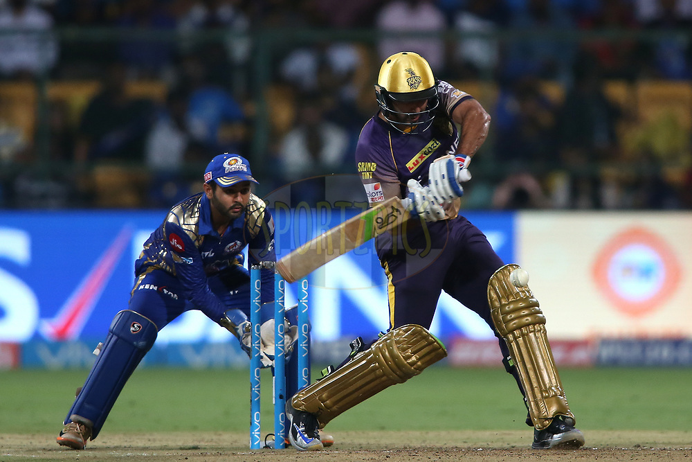 Ishank Jaggi of the Kolkata Knight Riders looks to pull a delivery through the leg side during the 2nd qualifier match of the Vivo 2017 Indian Premier League between the Mumbai Indians and the Kolkata Knight Riders held at the M.Chinnaswamy Stadium in Bangalore, India on the 19th May 2017<br /> <br /> Photo by Shaun Roy - Sportzpics - IPL