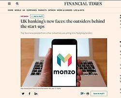 Financial Times; Monzo logo shown of smartphone screen