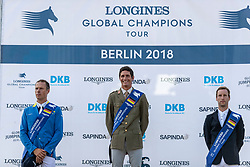 AHLMANN Christian (GER), ZORZI Alberto (ITA), DEVOS Pieter (BEL)<br /> Berlin - Global Jumping Berlin 2018<br /> Siegerehrung Longines Global Champions Tour<br /> Grand Prix of Berlin presented by Sapinda<br /> 28. Juli 2018<br /> © www.sportfotos-lafrentz.de/Stefan Lafrentz