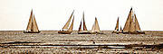 Sepia of a sailboat race off Waikiki Beach, Hawaii