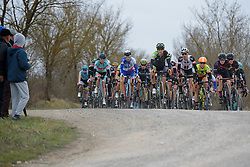 Peloton charge across the chalk at Strade Bianche - Elite Women. A 127 km road race on March 4th 2017, starting and finishing in Siena, Italy. (Photo by Sean Robinson/Velofocus)