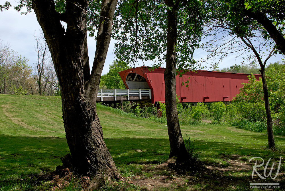 Roseman Bridge Framed by Trees, Winterset, Madison County, Iowa
