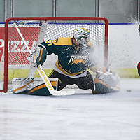 4th year Goalie, Dawson MacAuley (31) of the Regina Cougars during the Men's Hockey Home Game on Fri Oct 12 at Co-operators Center. Credit: Arthur Ward/Arthur Images