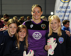Hannah Reid of Bristol Academy Women with ball girls after the Birmingham City cup fixture - Mandatory by-line: Paul Knight/JMP - Mobile: 07966 386802 - 29/08/2015 -  FOOTBALL - Stoke Gifford Stadium - Bristol, England -  Bristol Academy Women v Birmingham City Ladies FC - FA WSL Continental Tyres Cup