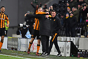 Hull City forward Jarrod Bowen (20) celebrates scoring goal to go 2-0 with Hull City manager Leonid Slutsky during the EFL Sky Bet Championship match between Hull City and Bristol City at the KCOM Stadium, Kingston upon Hull, England on 25 November 2017. Photo by Ian Lyall.